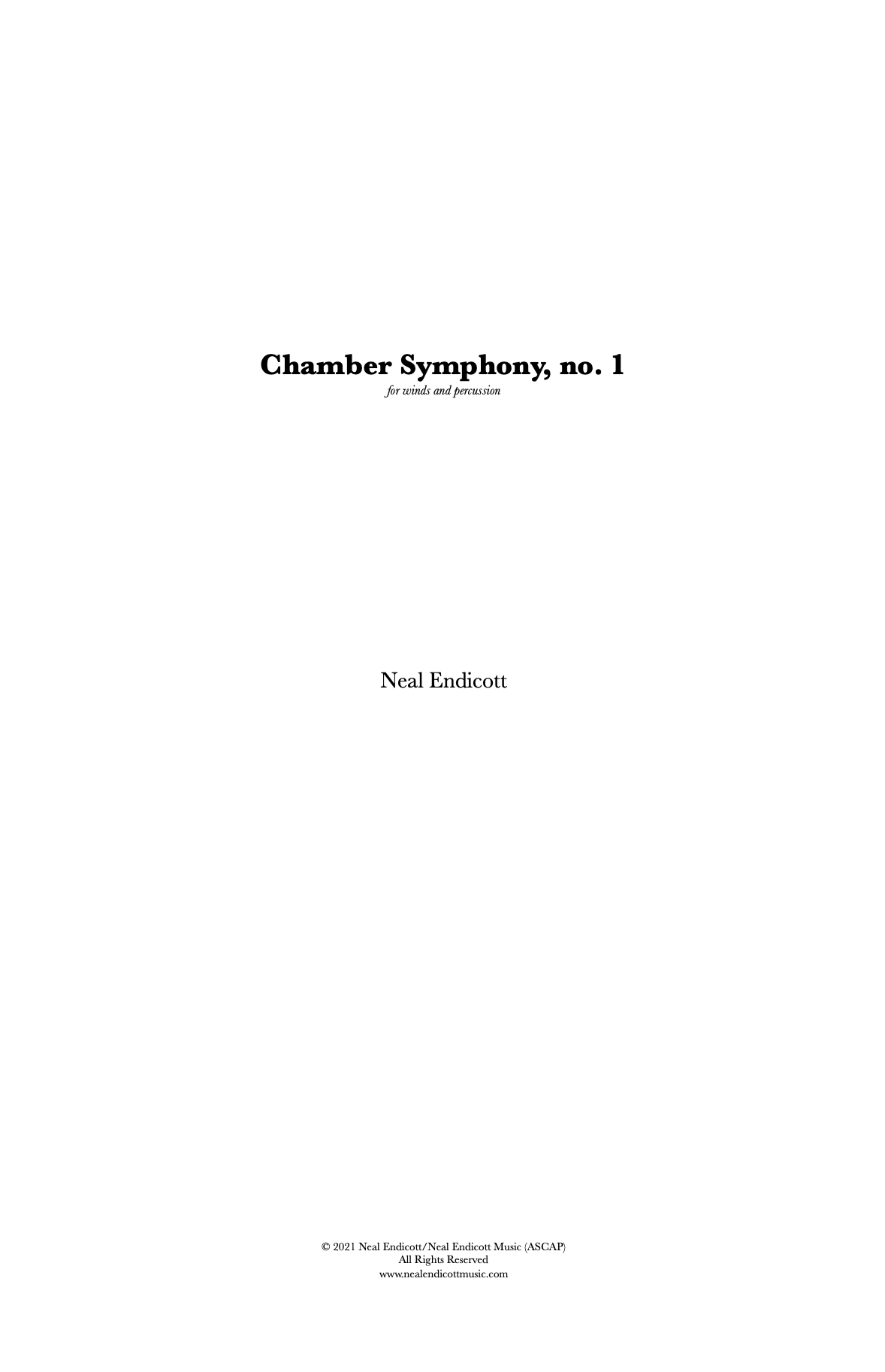 Chamber Symphony No. 1 by Neal Endicott