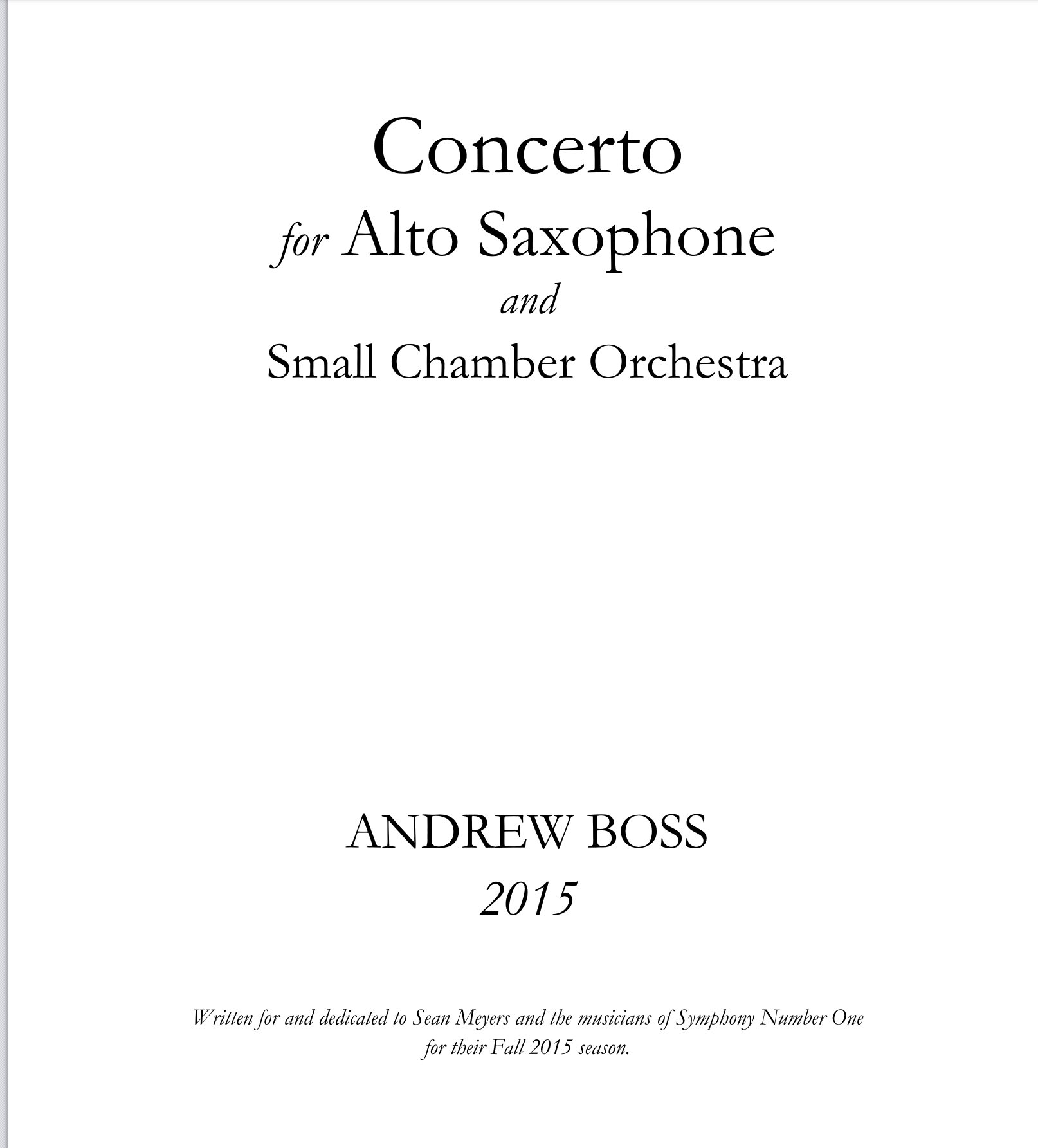 Concerto For Alto Saxophone And Chamber Orchestra  by Andrew Boss