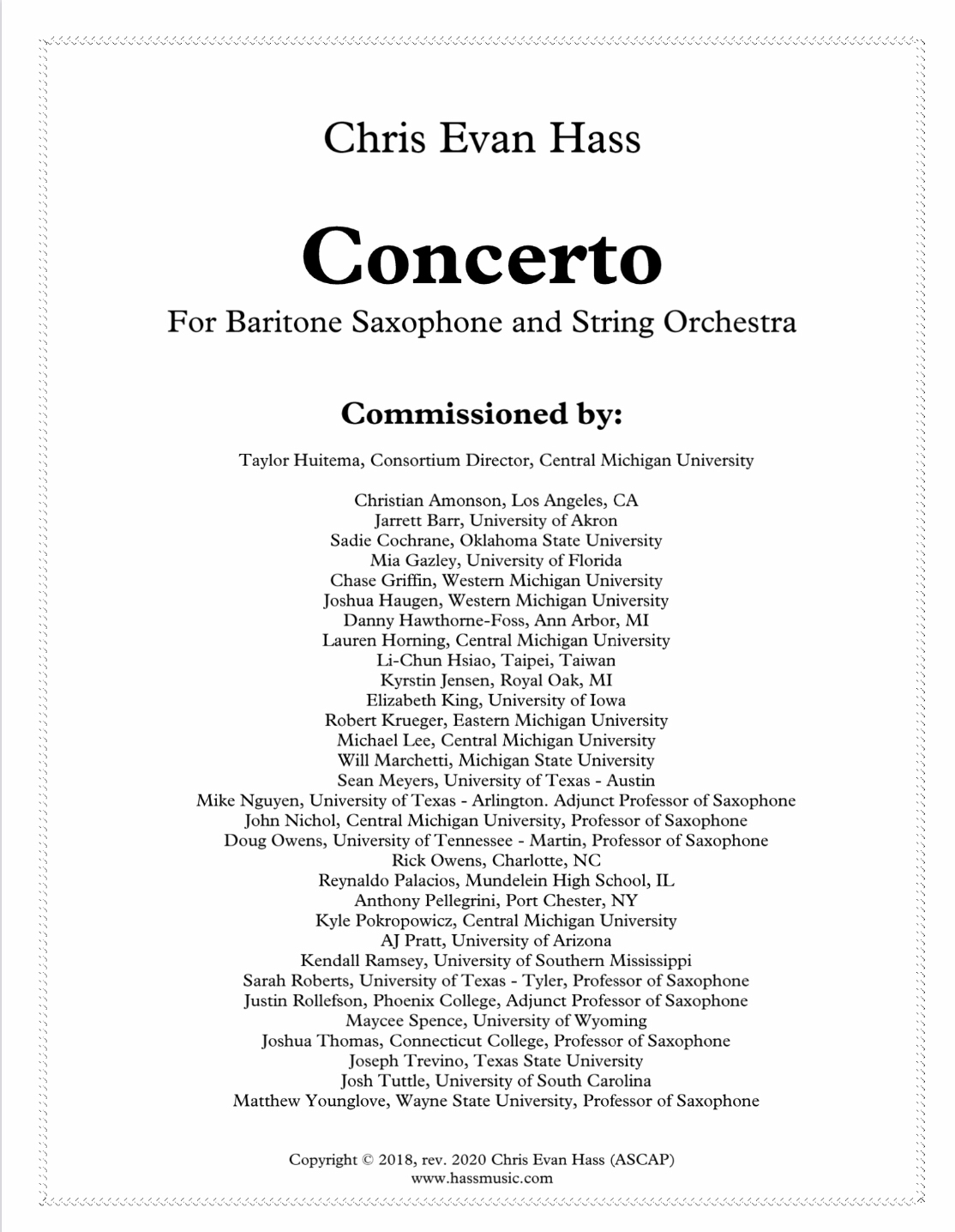 Concerto For Baritone Saxophone And String Orchestra by Chris Evan Hass