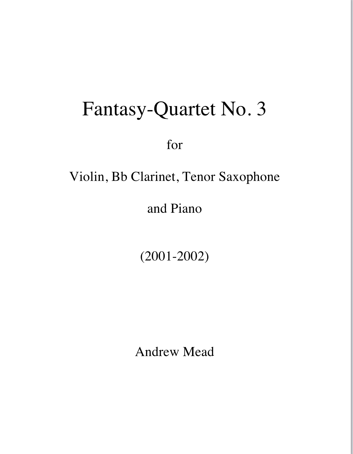 Fantasy Quartet No. 3 by Andrew Mead