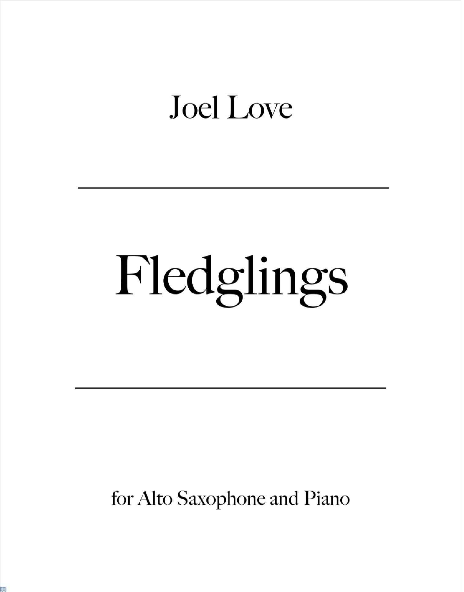 Fledglings by Joel Love