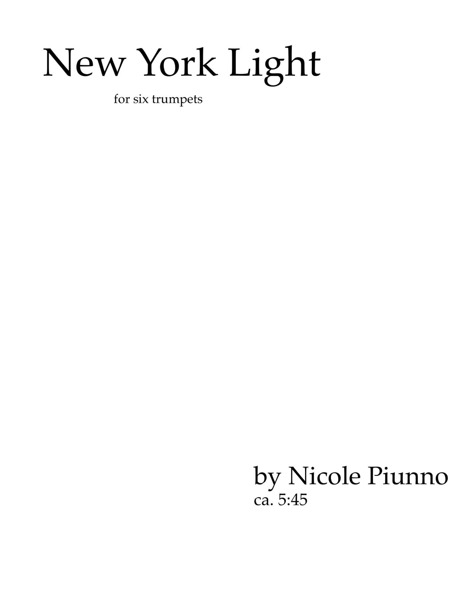 New York Light by Nicole Piunno
