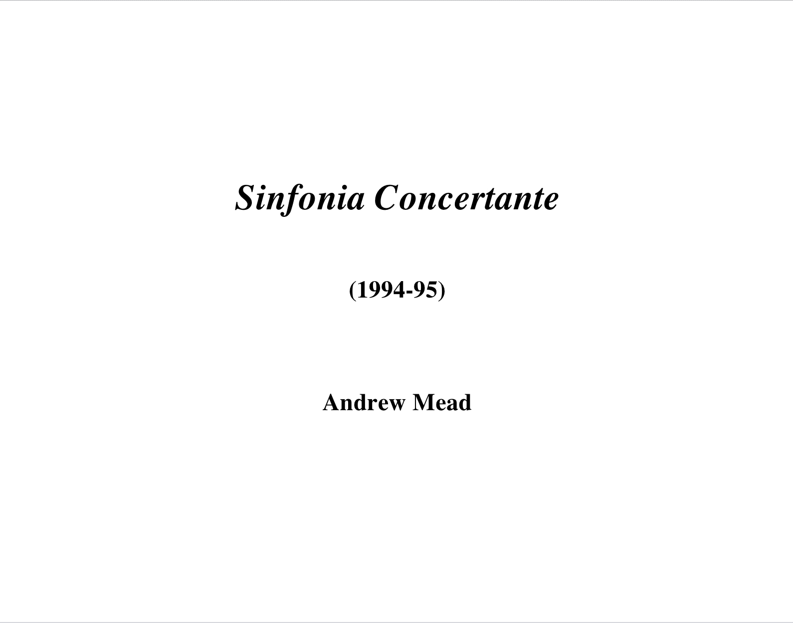 Sinfonia Concertante by Andrew Mead