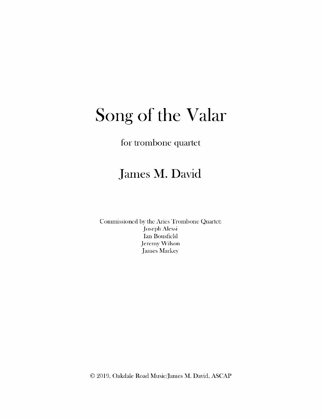 Song Of The Valar by James David