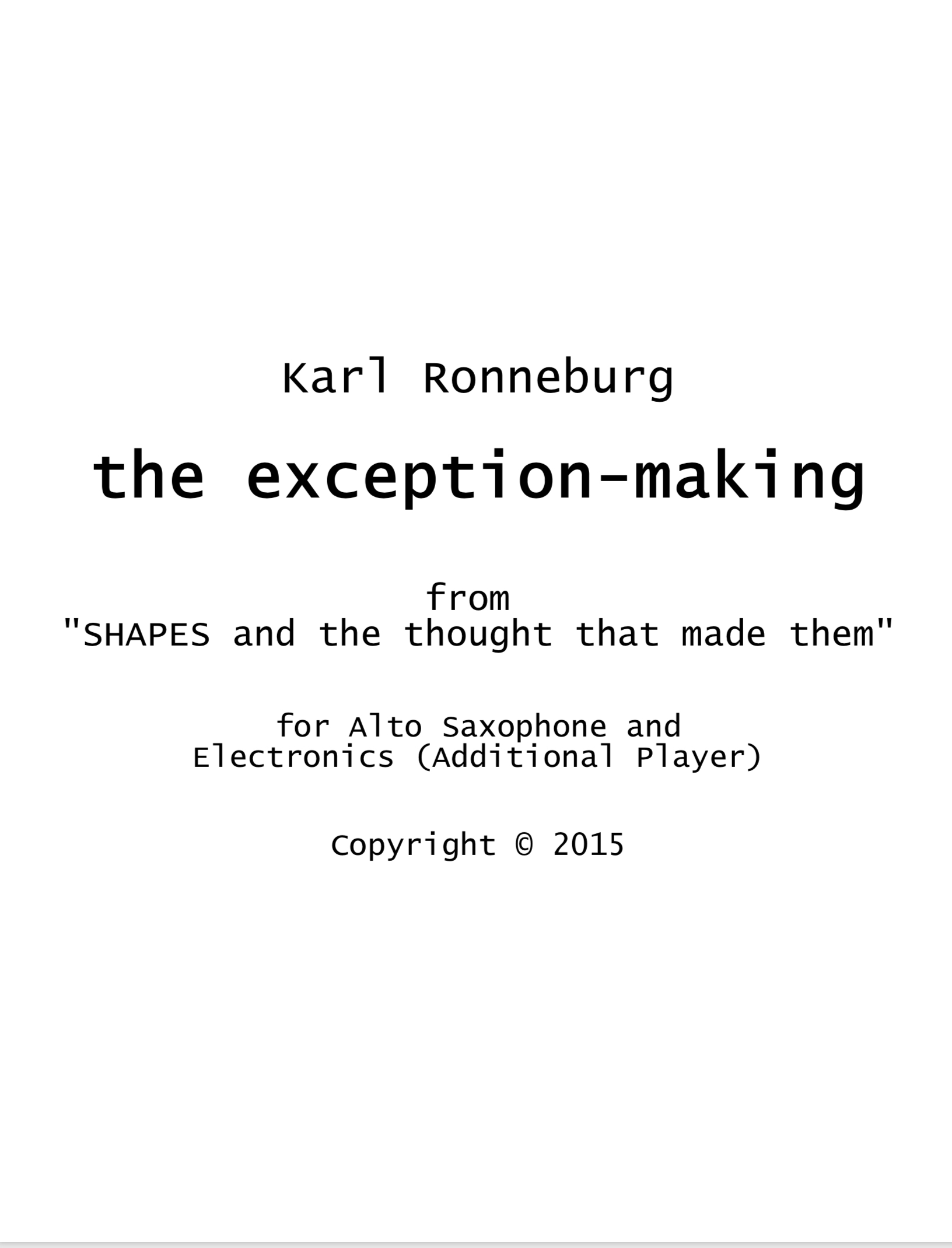 The Exception-making  by Karl Ronneburg