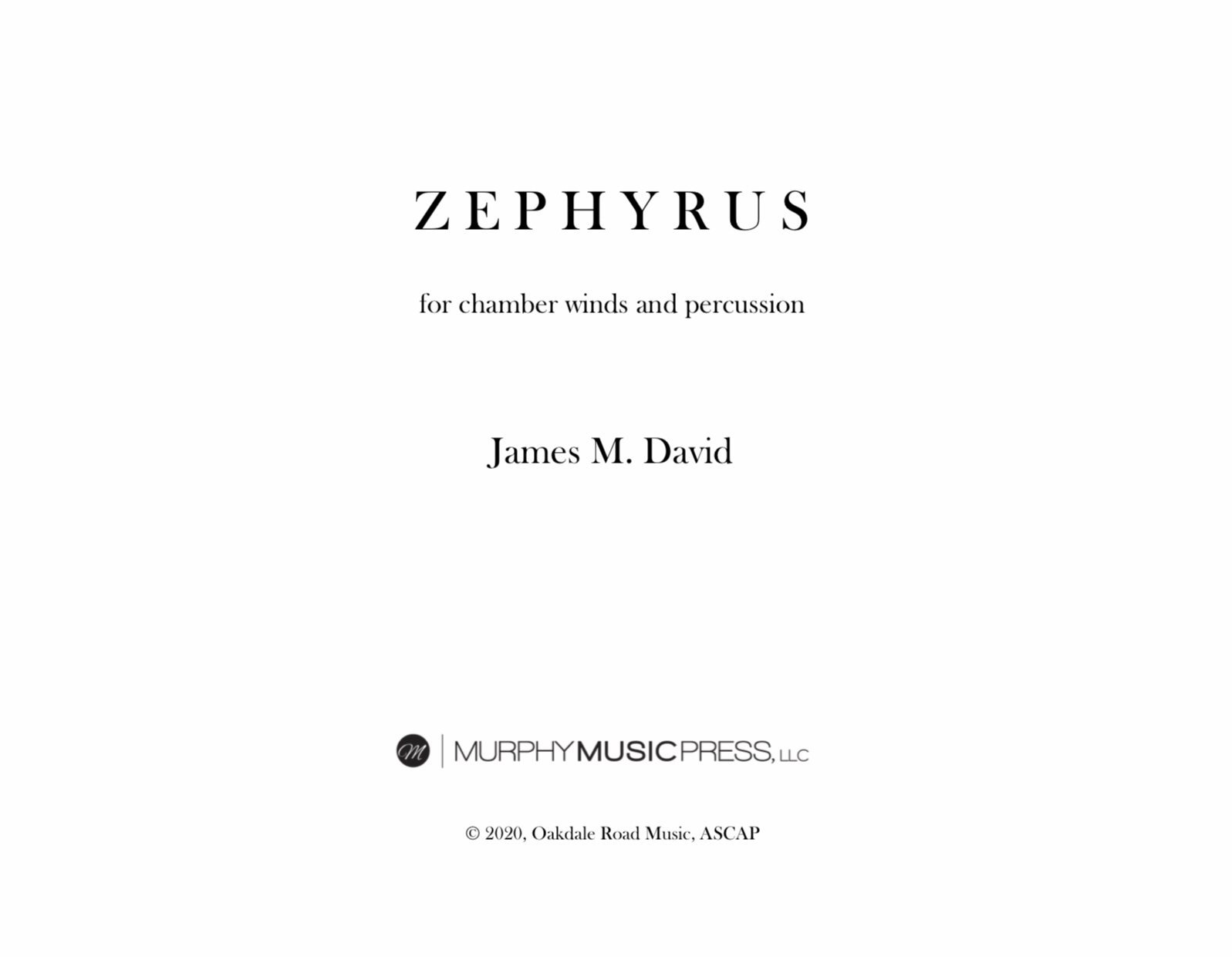 Zephyrus (Score Only) by James David