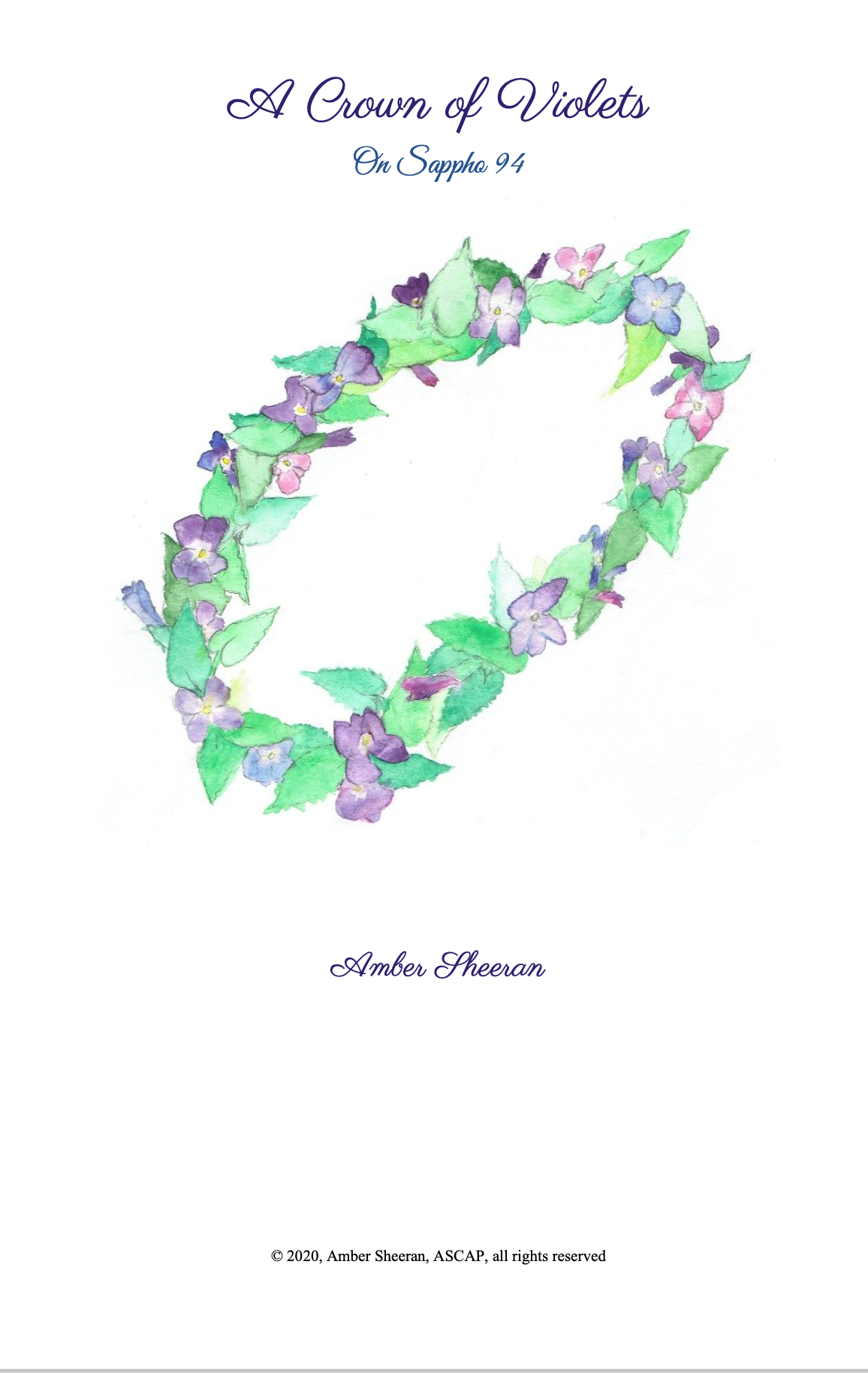 A Crown Of Violets (Score Only) by Amber Sheeran