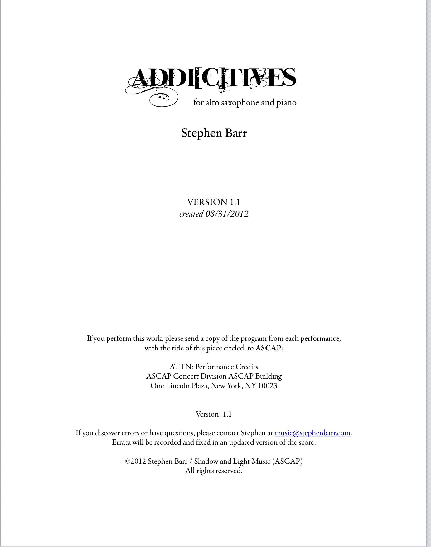 Addictives by Stephen Barr
