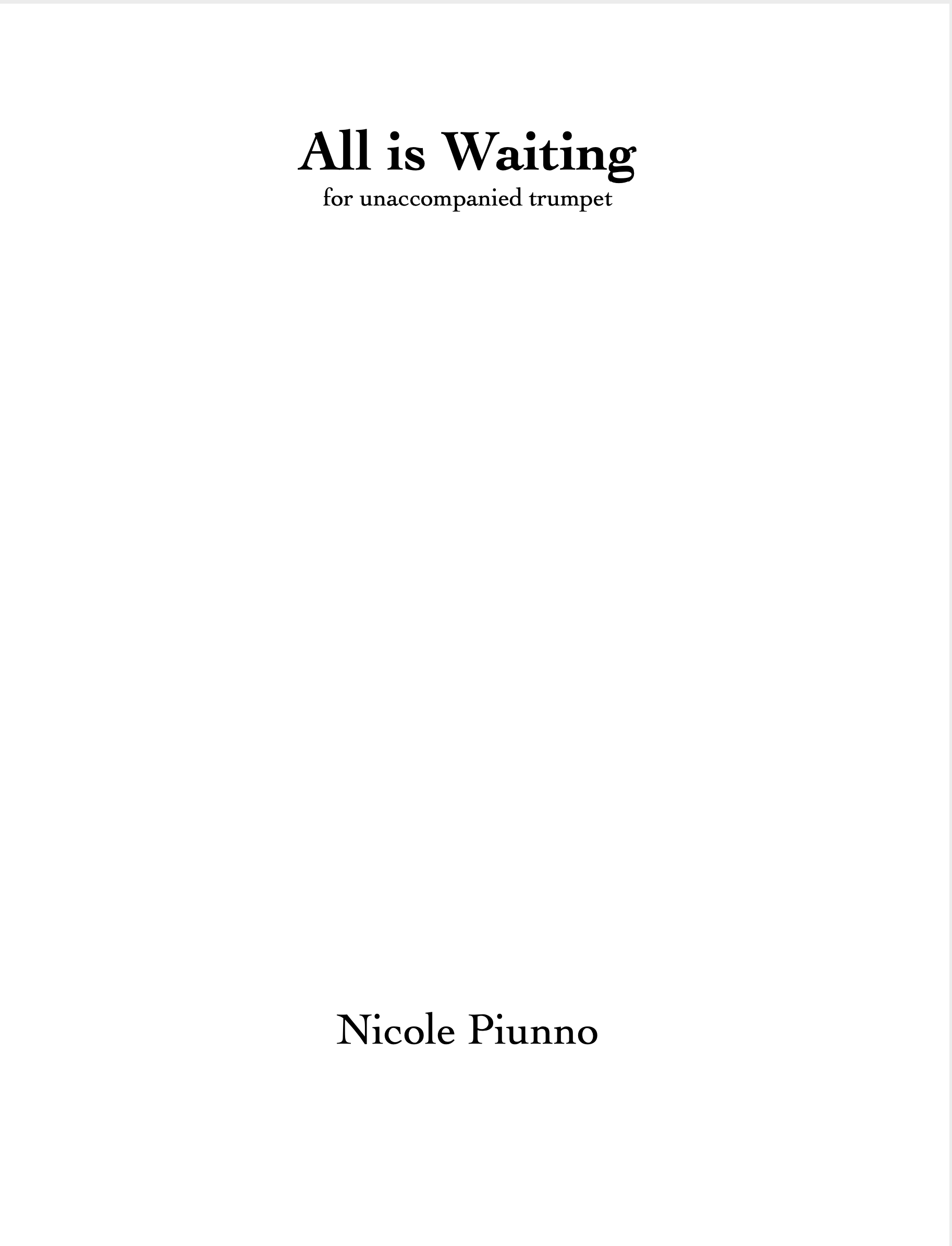 All Is Waiting by Nicole Piunno