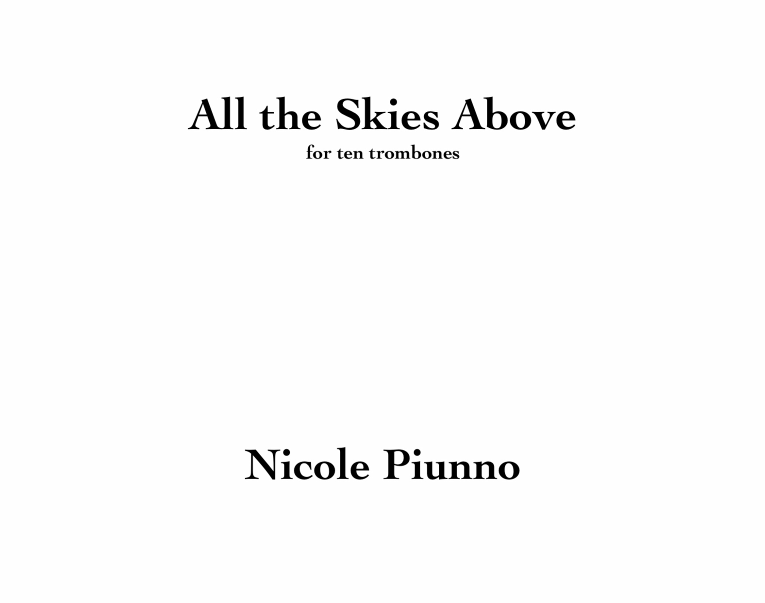 All The Skies Aboove by Nicole Piunno