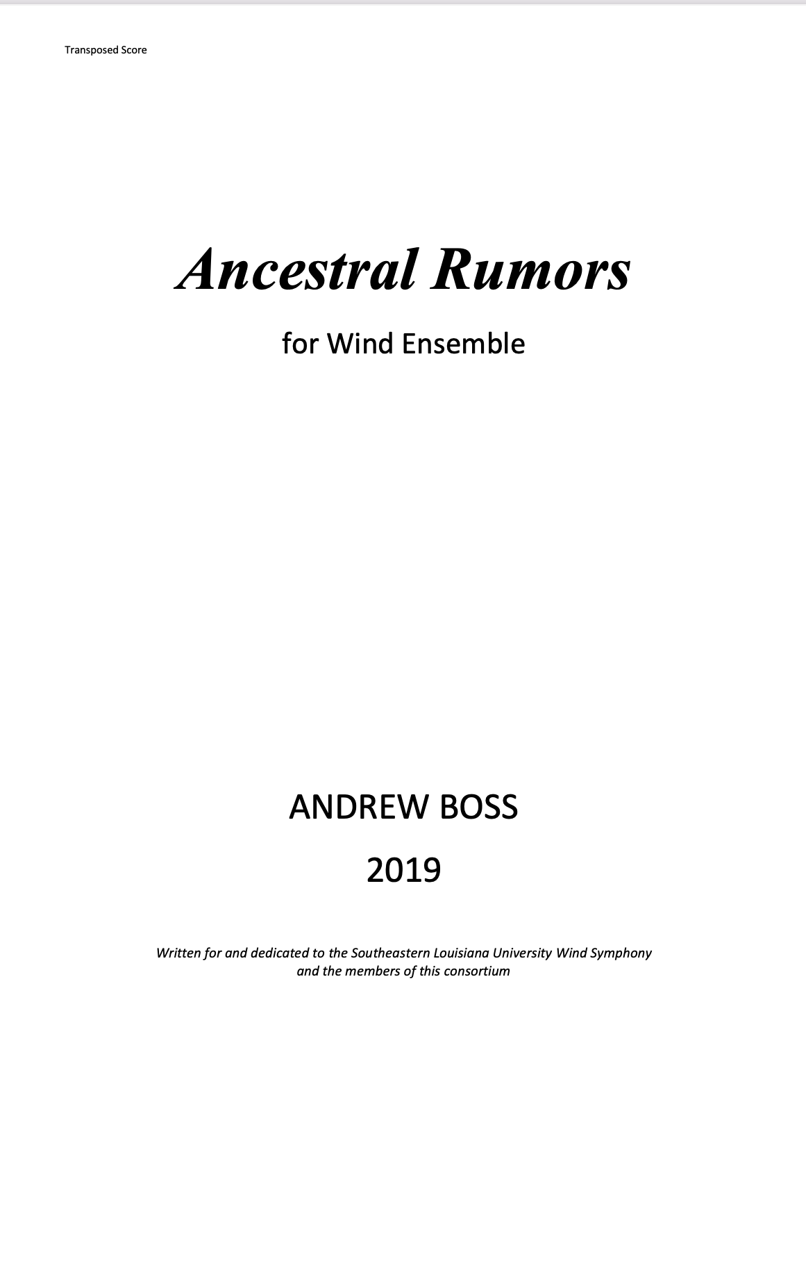 Ancestral Rumors by Andrew Boss