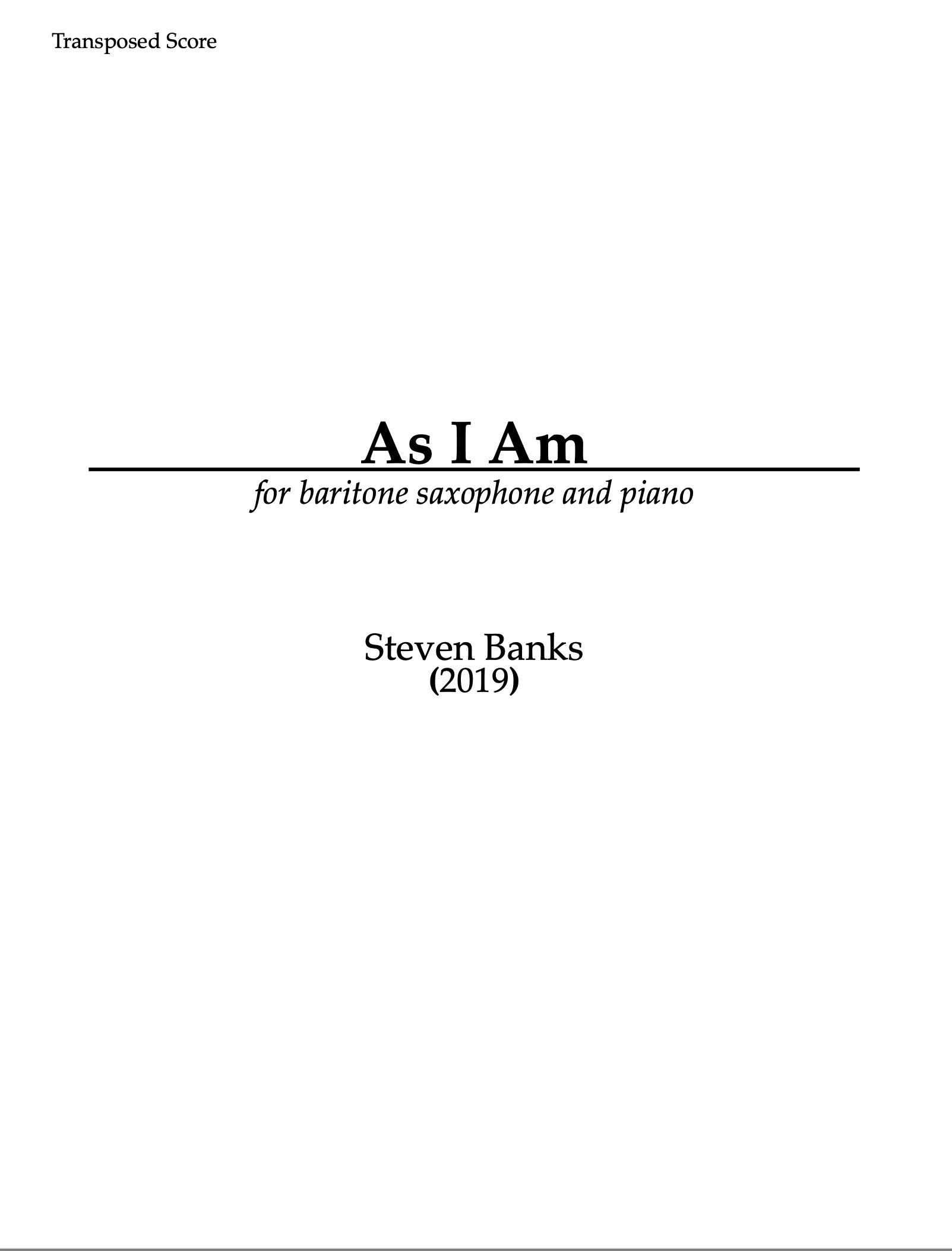 As I Am (PDF Version) by Steven Banks