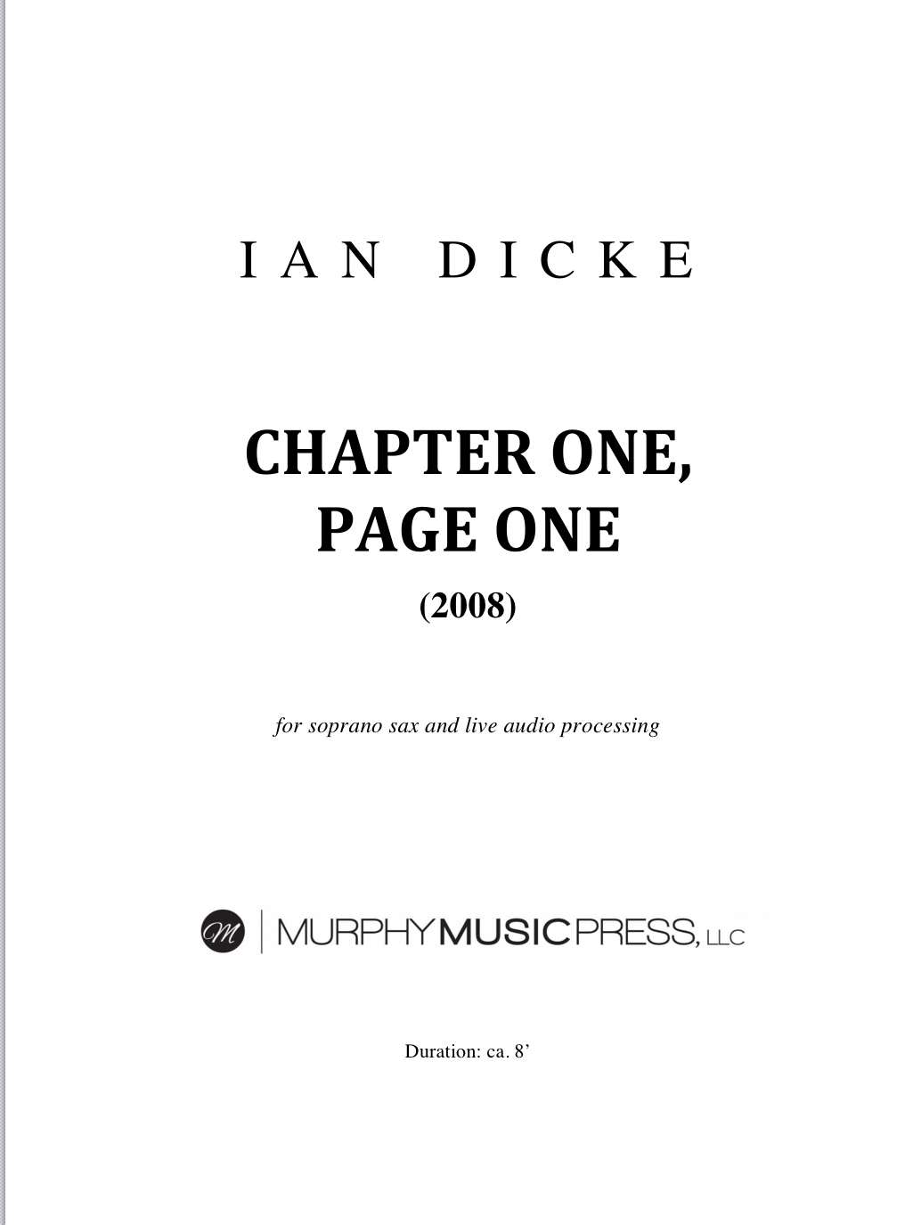 Chapter One, Page One by Ian Dicke