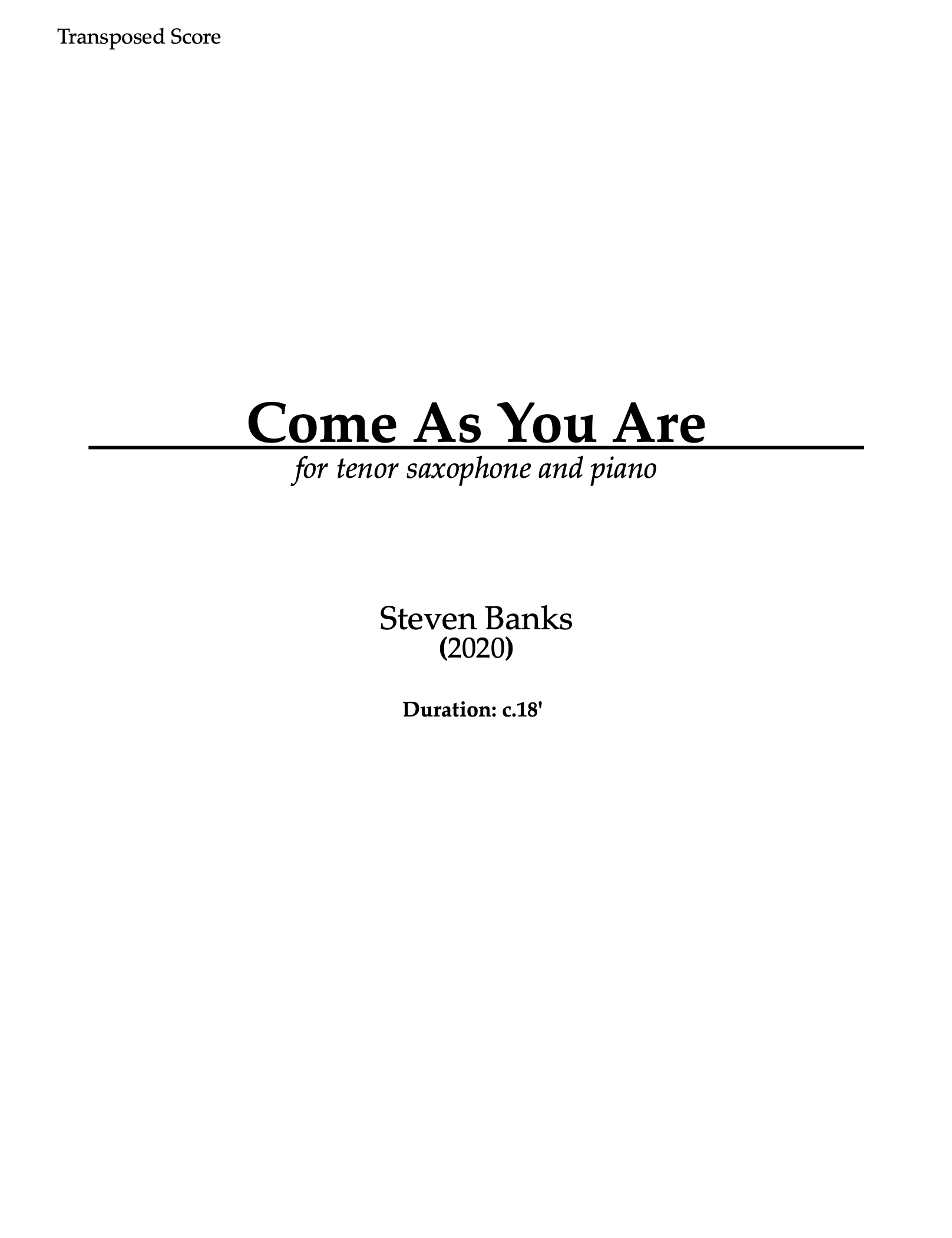 Come As You Are (PDF Version) by Steven Banks