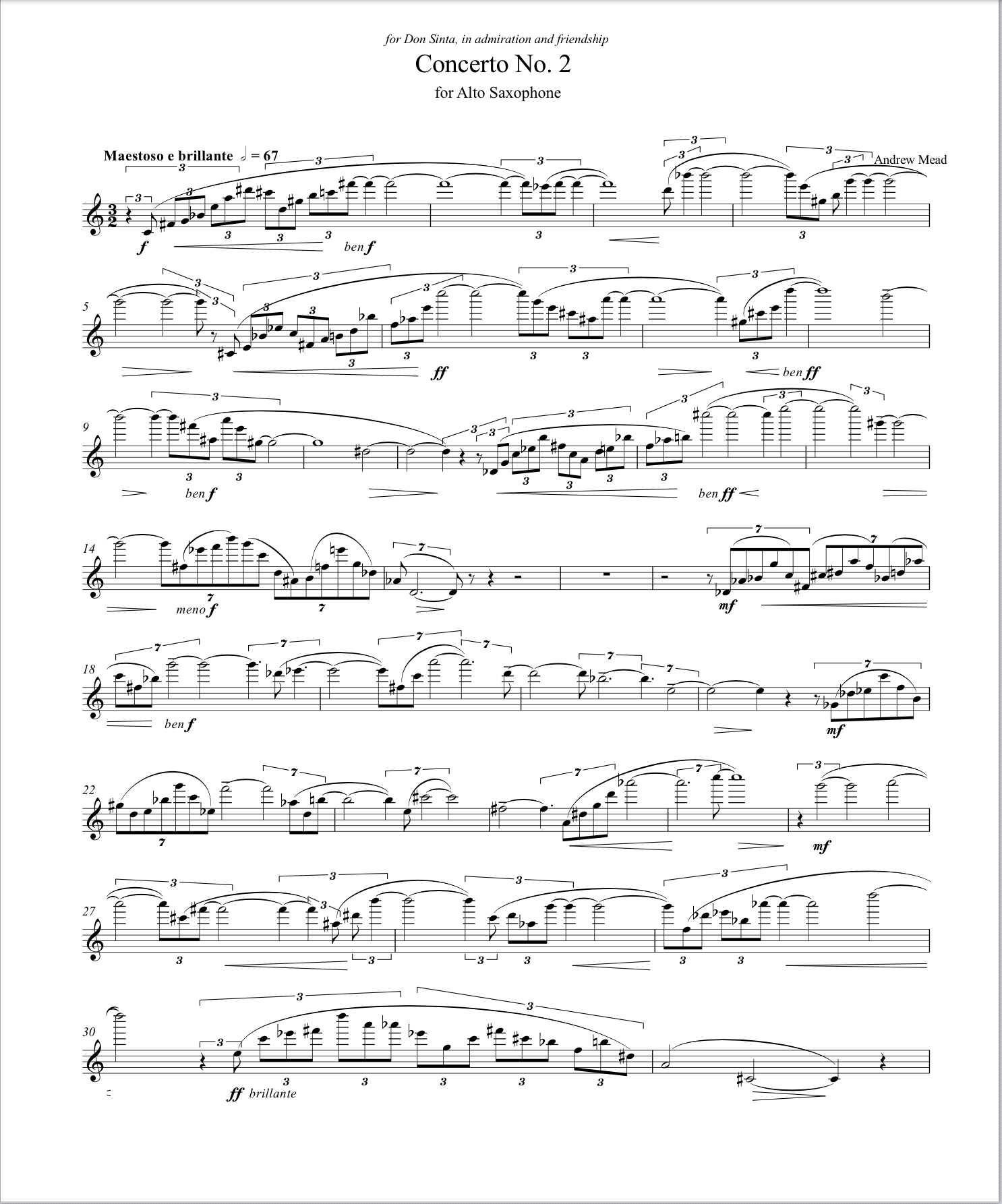 Concerto No. 1 For Alto Saxophone, Score And Parts by Andrew Mead