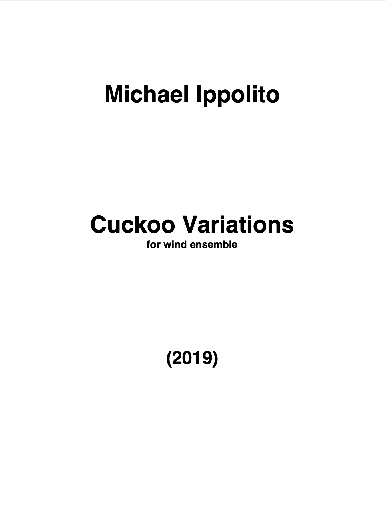 Cuckoo Variations (Score Only) by Michael Ippolito