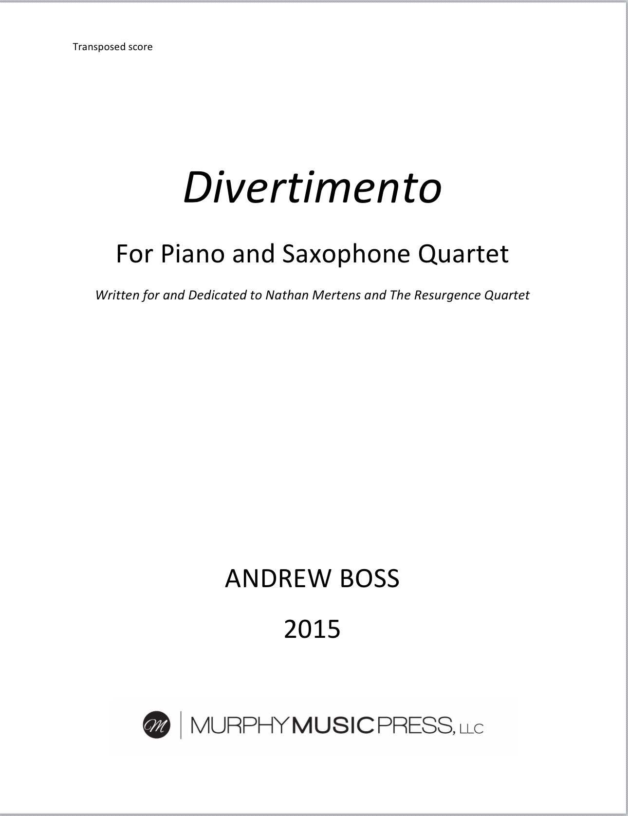 Divertimento by Andrew Boss