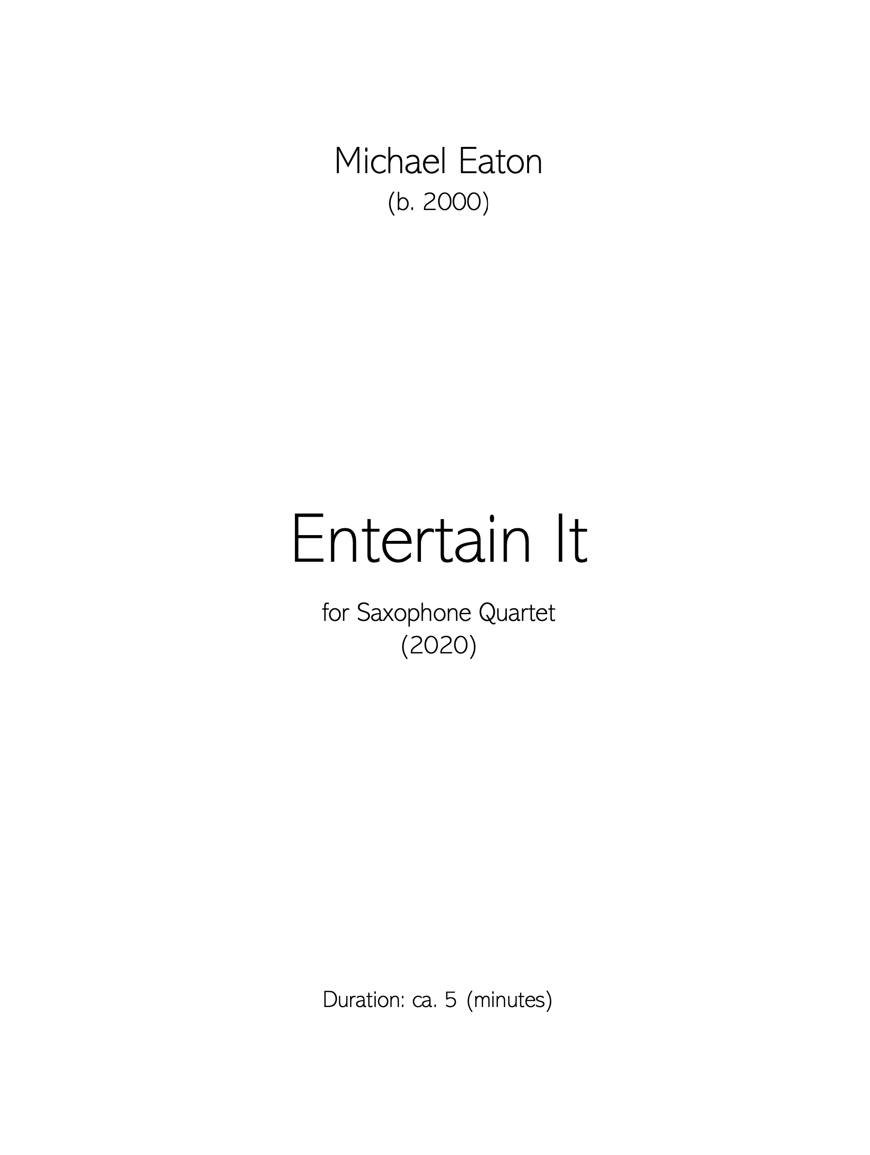 Entertain It by Michael Eaton