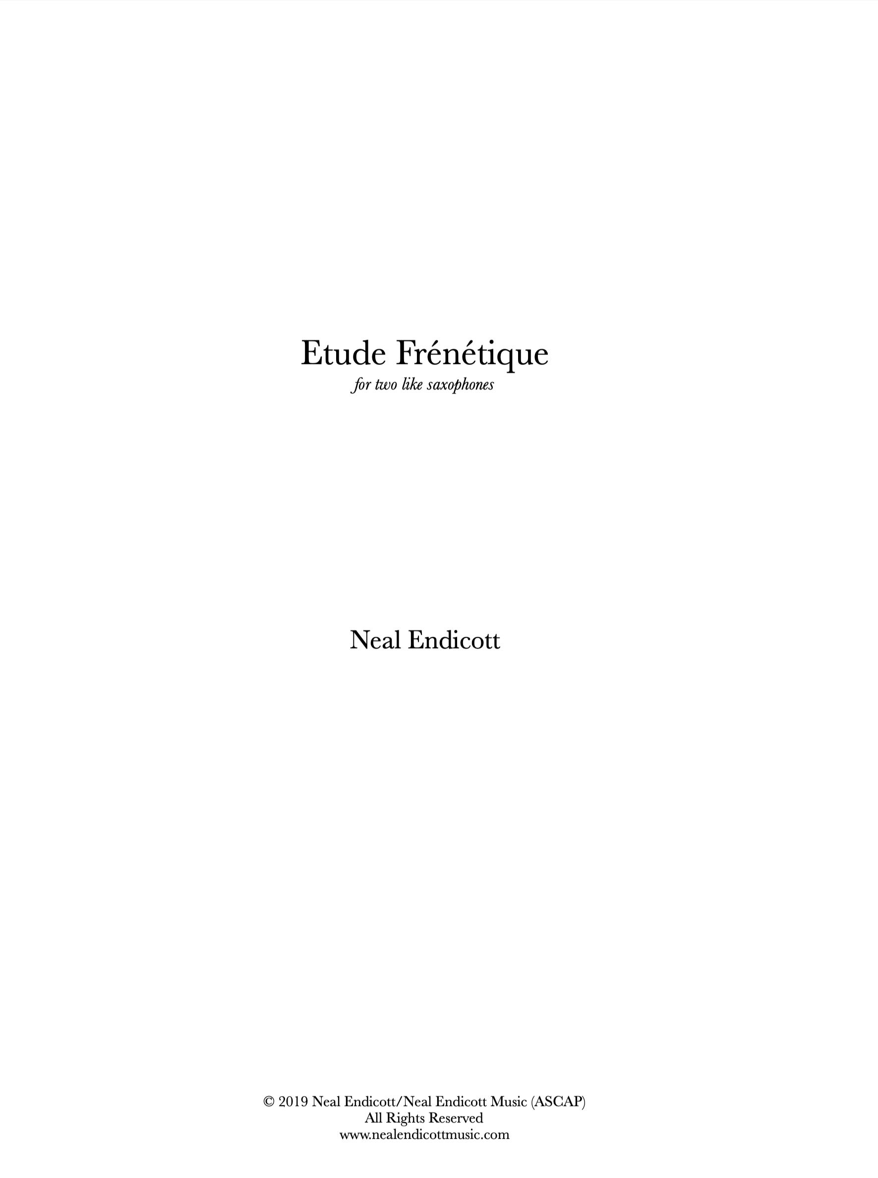 Etude Frénétique by Neal Endicott