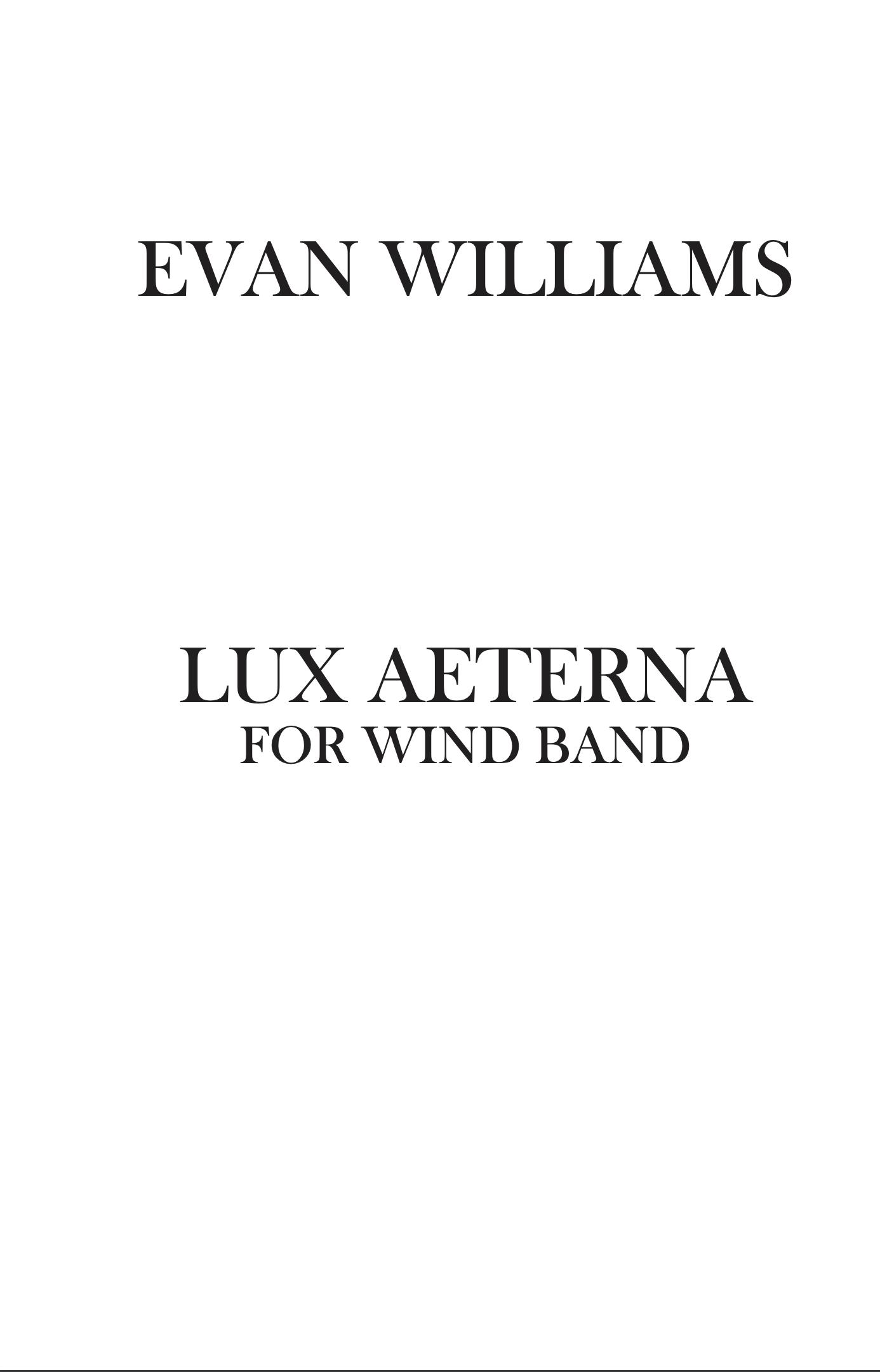 Lux Aeterna by Evan Williams