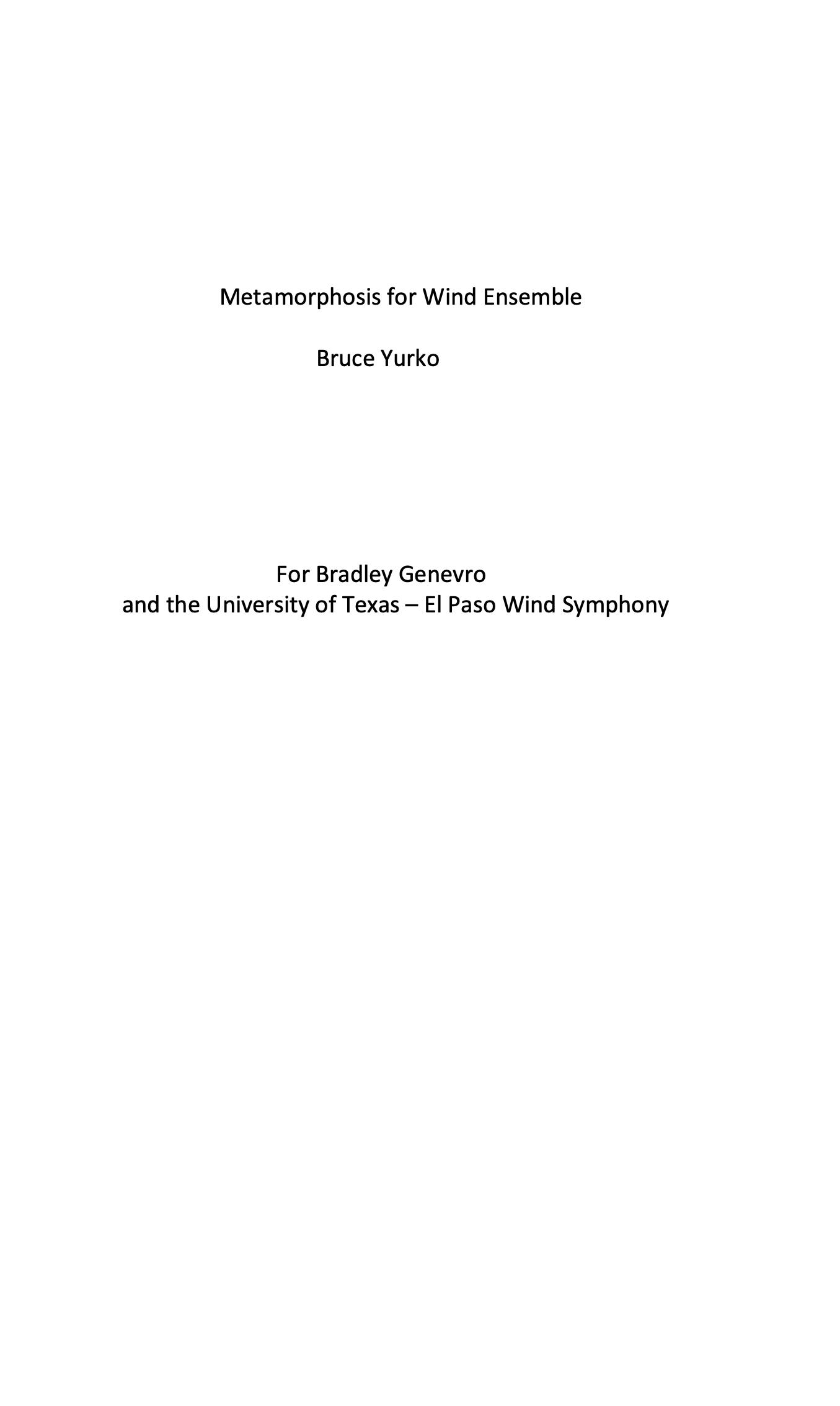 Metamorphosis For Wind Ensemble (Score Only) by Bruce Yurko