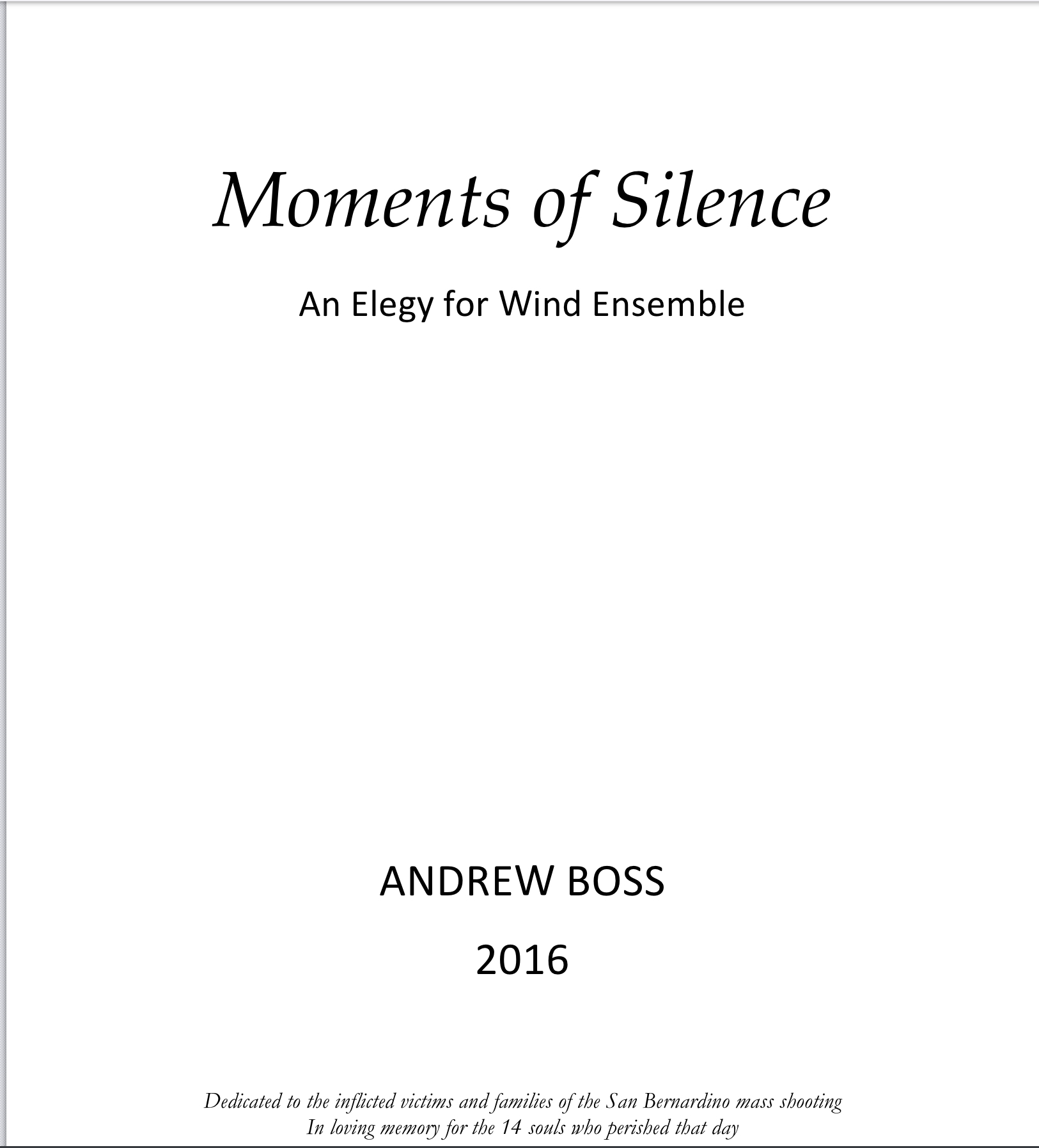 Moments Of Silence (PDF Version) by Andrew Boss