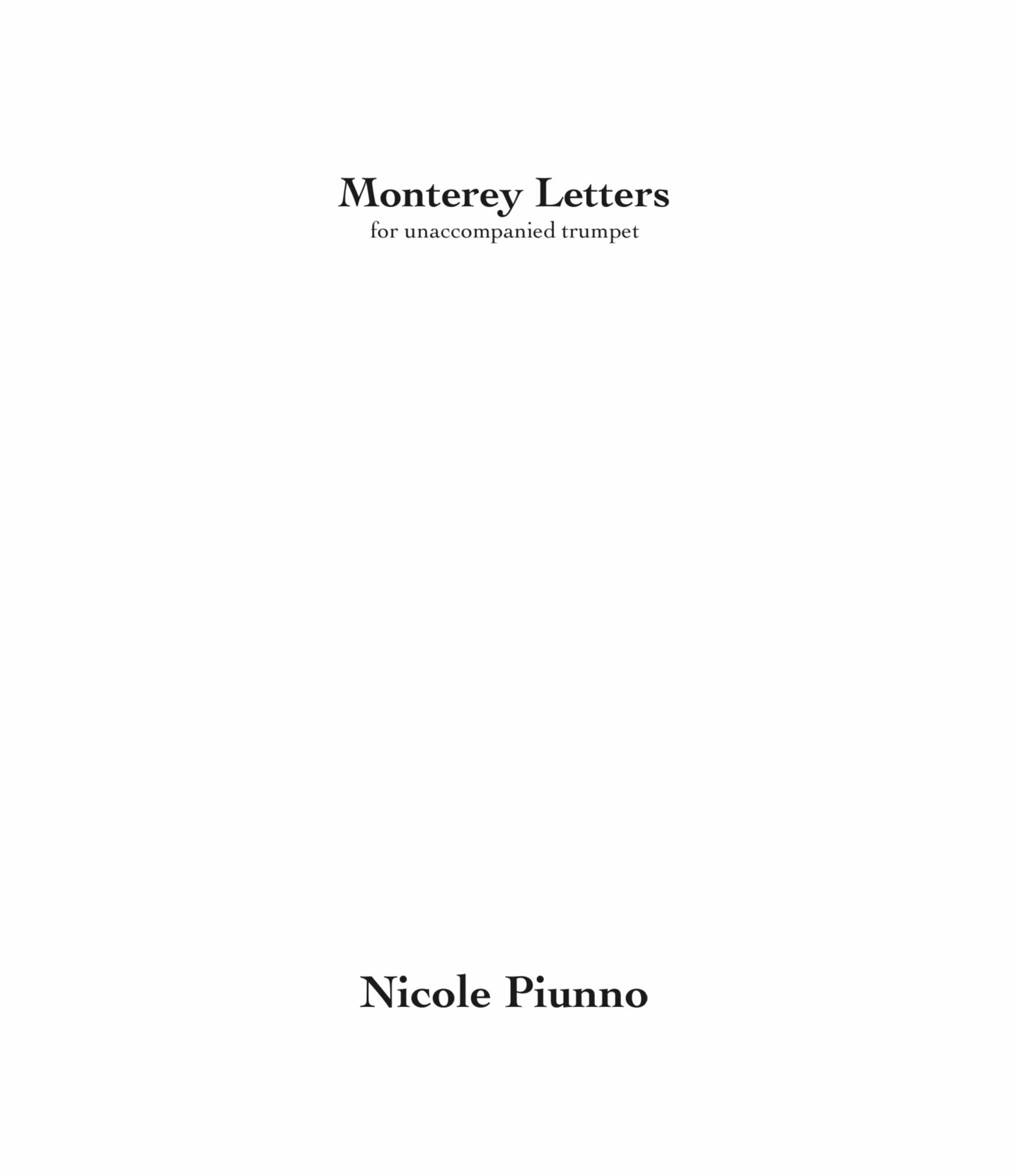 Monterey Letters by Nicole Piunno