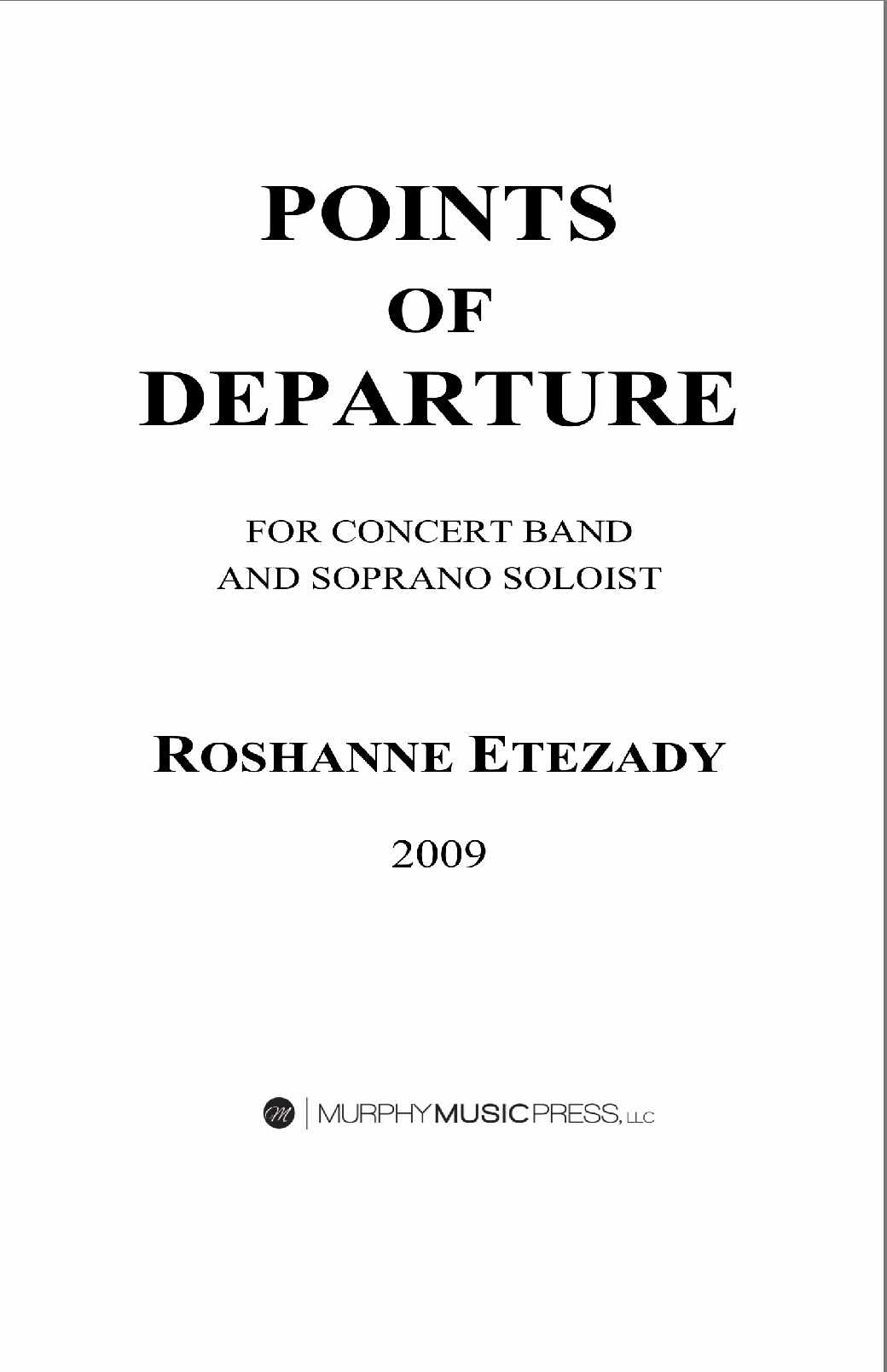 Points Of Departure (Score Only) by Roshanne Etezady