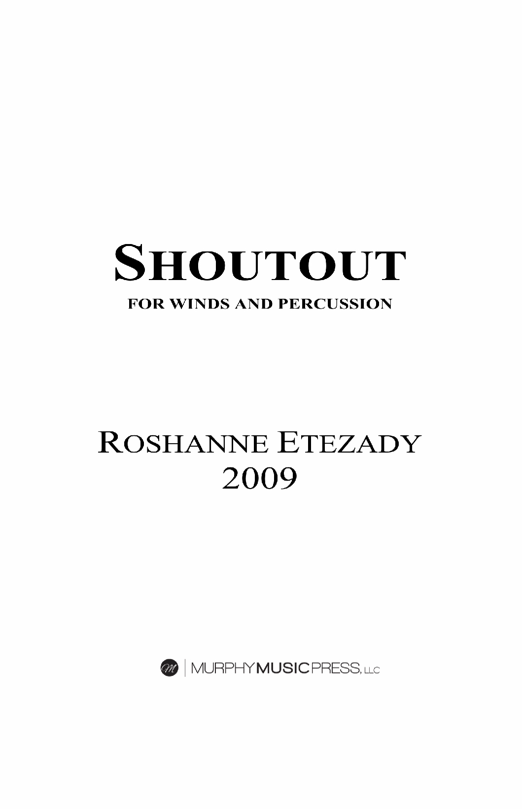 Shoutout (Score Only) by Roshanne Etezady