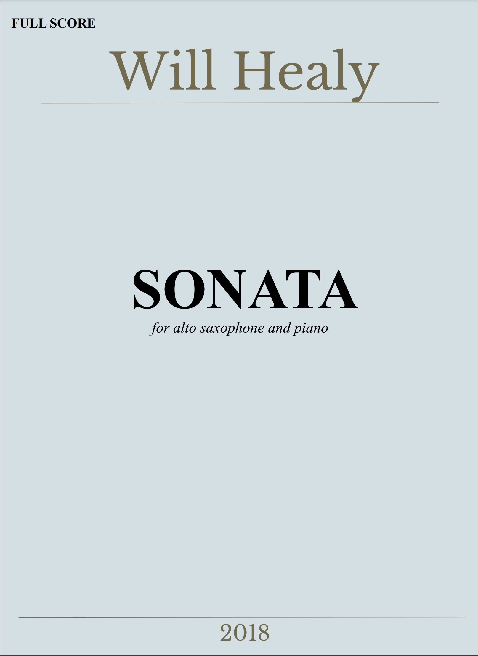 Sonata For Alto Saxophone And Piano by Will Healy