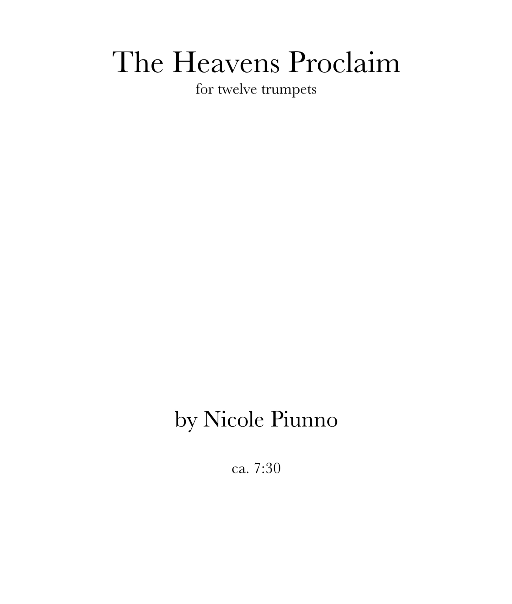 The Heavens Proclaim by Nicole Piunno